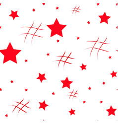Seamless pattern with red hearts and black stars vector