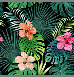 seamless tropical pattern black background vector image