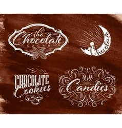 Set chocolate labels brown vector