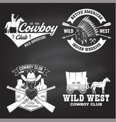 Set cowboy club badge on chalkboard wild west vector
