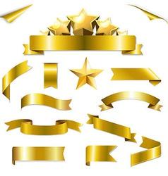 Set Gold Ribbons And Stars vector image