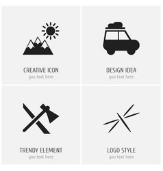 Set of 4 editable camping icons includes symbols vector