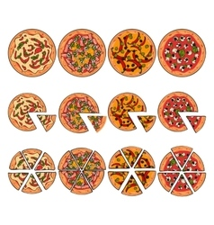 Set of four pizza types whole and sliced into vector image