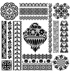 set ornament pattern vector image