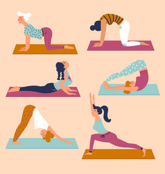 Set with beautiful women in various poses of yoga vector