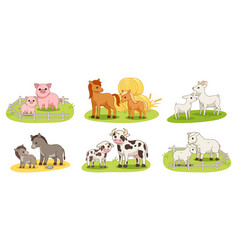 Set with domestic animals and their babies vector