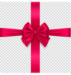 silk red bow and ribbon on transparent background vector image