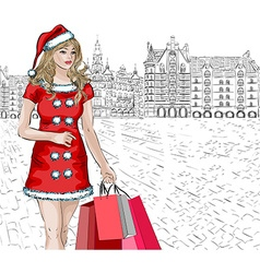 Sketch of a Lady Doing Christmas Shopping vector image