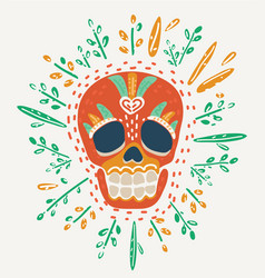skull decoration flowers vector image