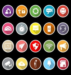 Smart phone screen flat icons with long shadow vector image