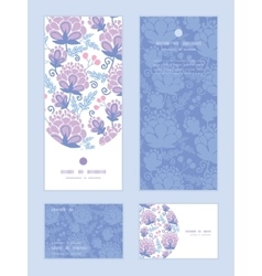 Soft purple flowers vertical frame pattern vector