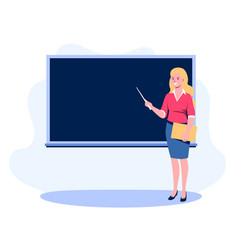 teacher with a pointer shows on blackboard a vector image