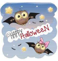 Two halloween owls vector