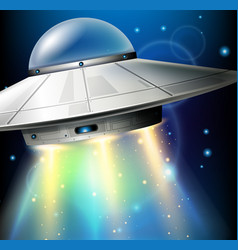 Ufo flying in dark space vector