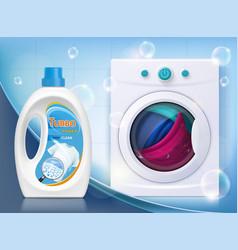 washing machine with linen liquid washing powder vector image