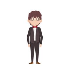 Wedding groom man cartoon character in suit vector