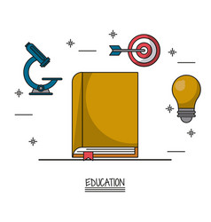 white background poster of education with book in vector image