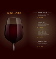 Wine card menu template with realistic glass of vector