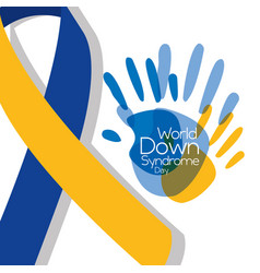 World down syndrome day painted hands big ribbon vector