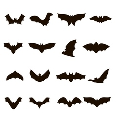 Big set of black silhouettes bats vector image vector image