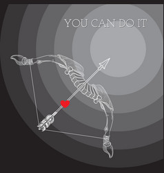 Bow arrow and words You Can Do It vector image