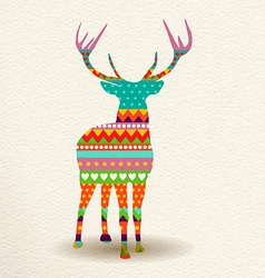 Christmas deer in colorful geometric art style vector image