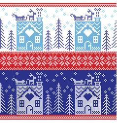 gerbread house snow reinderr sleigh trees star vector image vector image