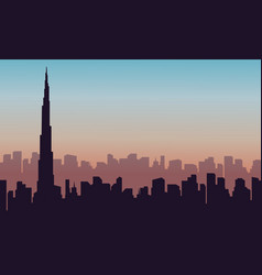 Silhouette of building in united arab emirates vector