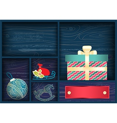 Box with Christmas decorations vector image vector image