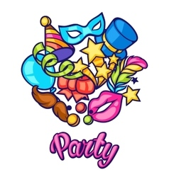 Celebration party card with carnival icons and vector
