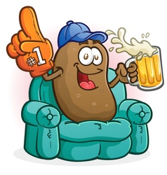 Couch Potato Sports Fan Cartoon Character vector image vector image