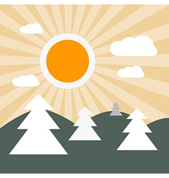 Flat Design Nature Landscape with Sun Hills and Tr vector image vector image