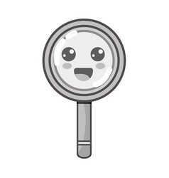 grayscale kawaii cute happy magnifying glass vector image