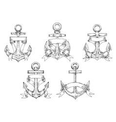 Heraldic marine anchors with ribbons vector image vector image