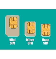 Modern sim card sizes mini micro nano vector image