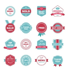 set of retro labels stickers badges vector image