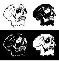 set of skulls with eyes design template vector image