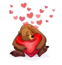 Bear and heart vector