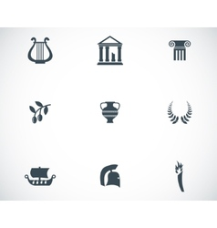 black greece icons set vector image vector image