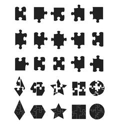 black jigsaw Puzzle Pieces icon vector image