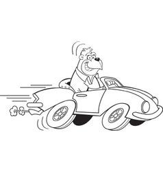 Cartoon gorilla driving a sports car vector image