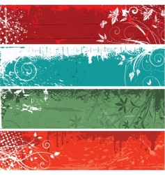 floral grunge panels vector image vector image