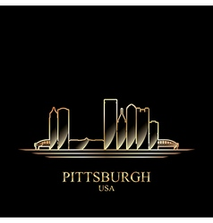 Gold silhouette of Pittsburgh on black background vector image vector image