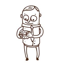 Hand Drawn Man with Burger vector image vector image