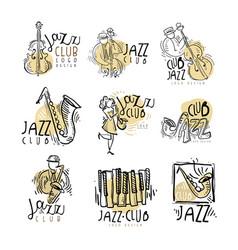 jazz club labels set vintage hand drawn vector image vector image