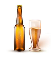 realistic beer bottle glass mockup 3d vector image
