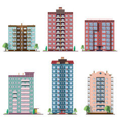 set of different panel residential houses vector image vector image
