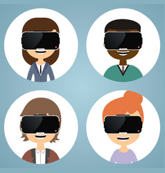 virtual reality glasses man and woman flat icons vector image vector image