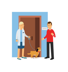 young man at the veterinary doctor with his pet vector image vector image