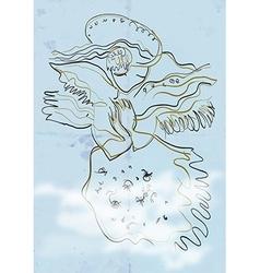 Art of Line Art - Angel vector image